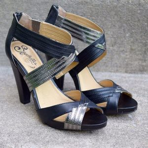 Seychelles Card Shark Black & Silver Leather Heels